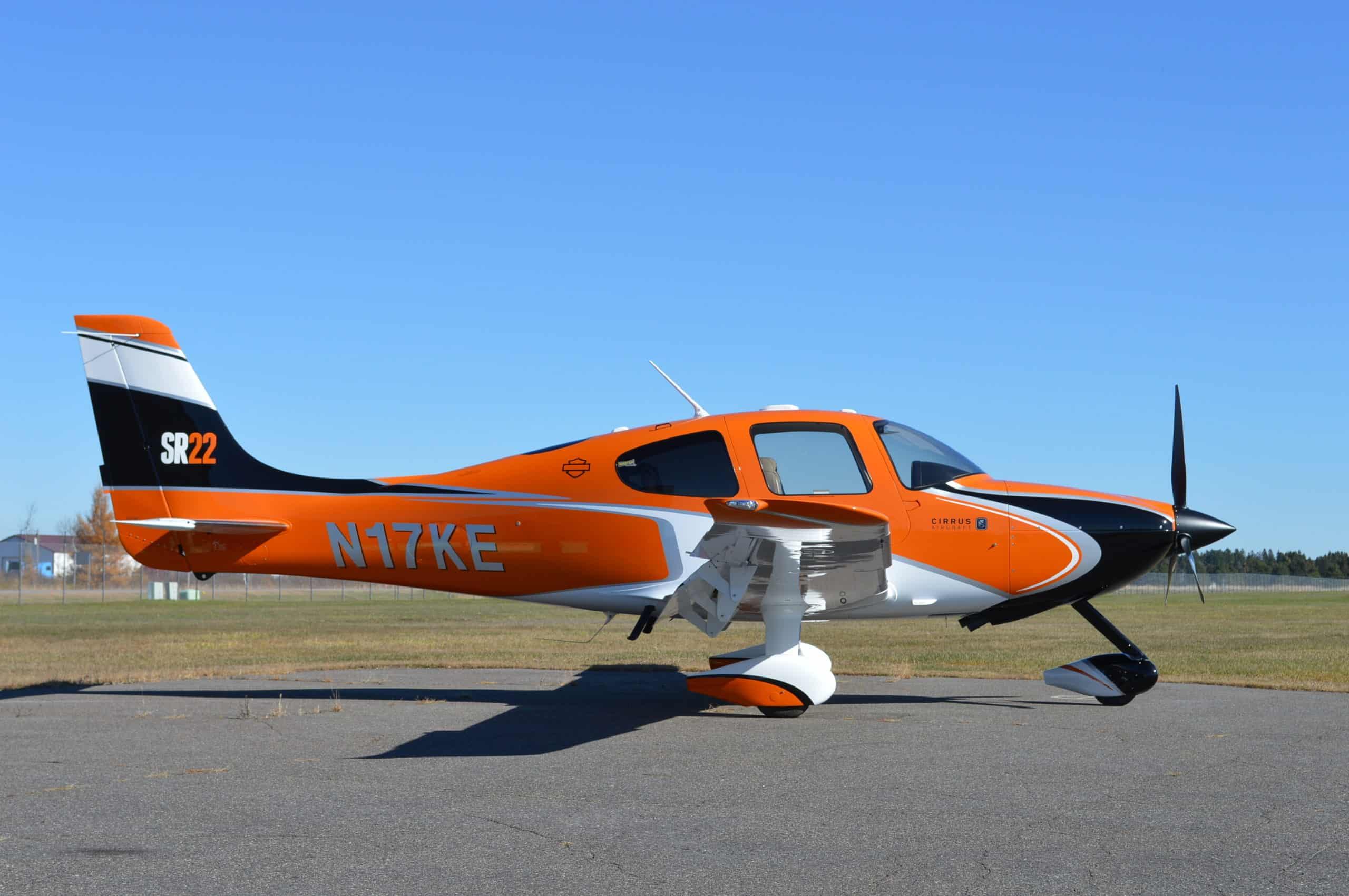sideview Aircraft Exterior refinishing orange and white color