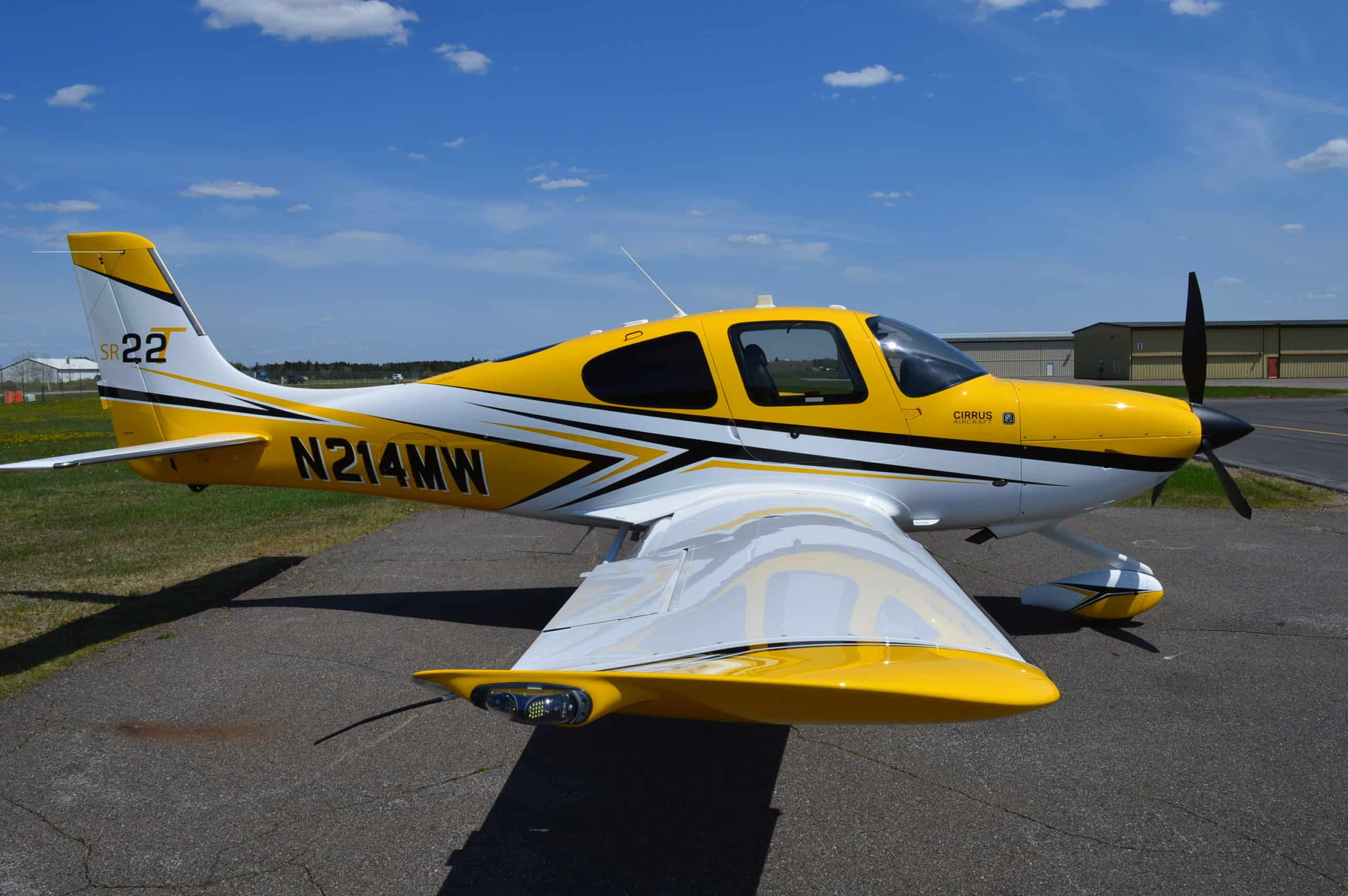 sideview refinished airplane grey and yellow colors