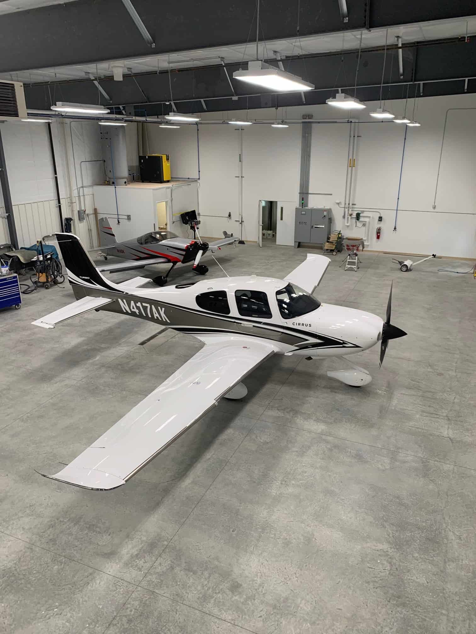 white painted refinished aircraft